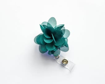 Dark Green Flower Badge Reel