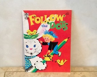 Vintage FOLLOW the DOTS EASTER Coloring Book