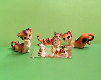 """LOT of """"As Is"""" Vintage Ceramic CATS Kittens Kittys Figurines and Salt and Pepper Shakers"""