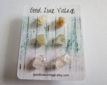 Crystal Earring Set Studs Citrine Moonstone Rose Quartz  Birthday Gift Natural Druzy Gemstones Nickel Free Boho