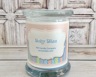 Baby Bliss  -Baby Powder Scented Soy Candles, Baby Shower, Baby Bump Candles, Baby Scented, Candle Gifts