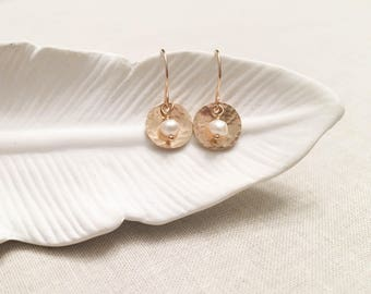 Pearl and Gold Orb Drops - 14k Yellow Gold Fill Hammered Disc Drops with Genuine White Freshwater Pearl Accents Gift for Her Handmade Drops