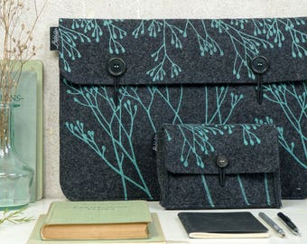 Vegan Felt Charger Case, Hard Drive Bag, Grey & Mint, Eco friendly Cover, Hard Disk Case, Nature Lover gift, plant print, Student Gift