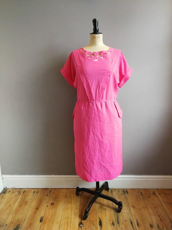 Pink vintage dress / cut out pink dress / bright pink summer dress / chic vintage dress / boho midi dress / pink shift dress / office dress