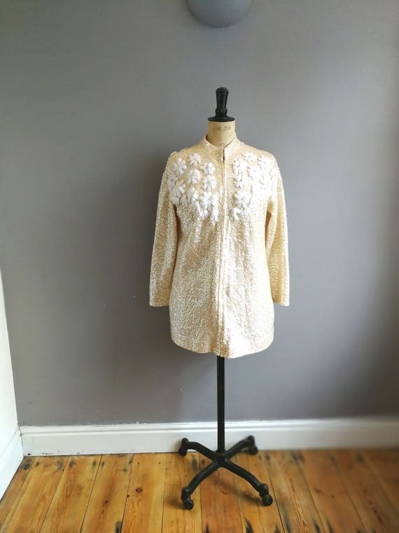 Vintage sequin cardigan / cream lined cardigan with beads and sequins / 60s sequin long cardigan / vintage embellished cardigan