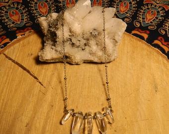quartz + pyrite necklace