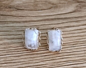 moonstone earrings, moonstone stud earrings, sterling silver earrings, moonstone studs, moonstone jewelry, wire crochet french handmade