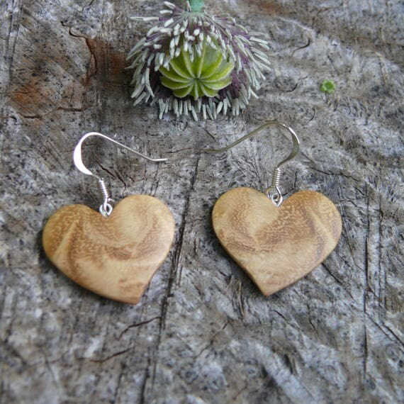 Wood Heart earrings, I love you earrings, Heart Gift for wife, sister or daughter, or girlfriend,  5th anniversary wood gift