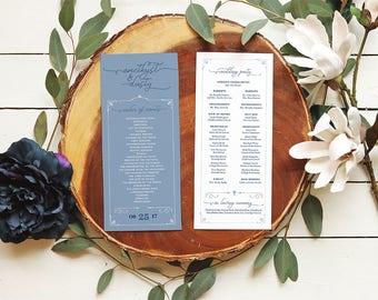 Dusty Blue Programs - Catholic Ceremony Programs - Printable or Printed Elegant Wedding Programs