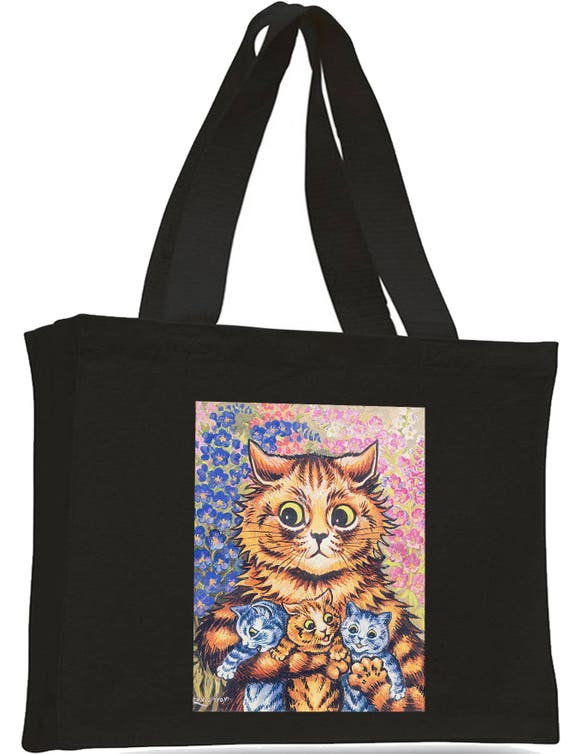 Louis Wain Mum Cat with Kittens Cotton Shopping Bag with gusset and long handles,