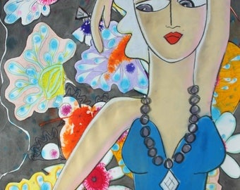 Diamond Flower- Large Mixed Media original by Samantha Thompson