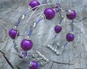 Royal Purple Bead Silver Heart Braided Memory Wire Cuff Bracelet