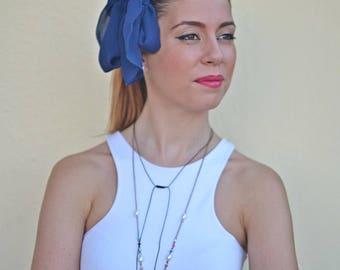 Blue Head Scarf, Royal Blue Hair Wrap, Womens Headband, Head scarf, Hair Tie, Headcovering, Head Covering, Retro Head Bow, Vintage Bow, Gift