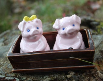 Vintage Pig Salt and Pepper Shakers // Pigs in a Trough // Piggy Salt and Pepper Shakers // Girl and Boy Pig Salt and Pepper Shakers