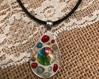 Mosaic Oval Pendant with Black Cord Necklace