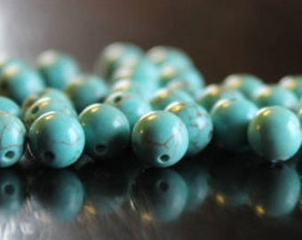 30 natural green turquoise beads, 6 mm, round beads, 1 mm hole, smooth and round