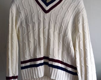 Vintage KEN ROSEWALL by REVERE White Cricket/Tennis Sweater Cable Knit Orlon Acrylic Red/Blue Striped V-Neck Size Medium/Large M/L