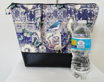 Bird Lunch Bag, Vinyl Bottom, Insulated Lunch Box, Womens Lunch Bag with Birds and Butterflies, Nylon Liner, Zipper Pocket, Washable Bag.
