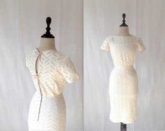1950s cream eyelet cotton dress