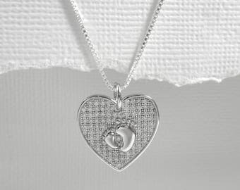 New Mom Necklace, Heart Necklace, New Baby Necklace, Baby Shower Gift, Baby Footprint Necklace, Sterling Silver Heart Necklace, Wife Gift