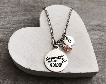 Stepmother of the Groom, Stepmother of Groom, Silver Jewelry, Bridal party, Silver Necklace, Charm Necklace, Customized, Personalized, Gifts