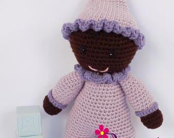Baby Girl Doll / Crochet Baby Girl Doll / My First Doll / Stuffed Lavender Baby Girl Doll / Plush Lavender Baby Girl Doll / Crochet Stuffy