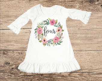 Birthday Dress for Four Year Old, Fourth Birthday Outfit, Flower Ruffle Dress