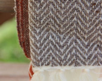 Handwoven Wool Throw Blanket - Three Color