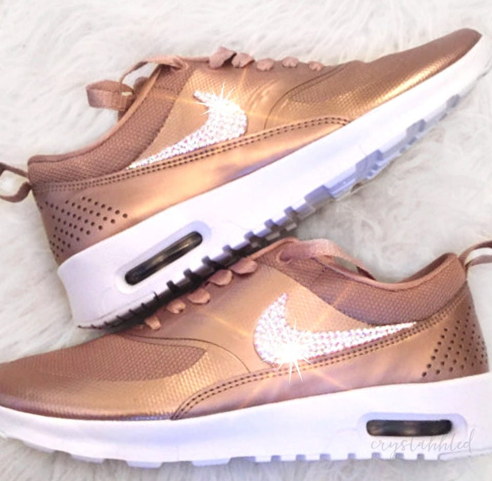 sale nike air max thea bling nike shoes rose gold nike. Black Bedroom Furniture Sets. Home Design Ideas