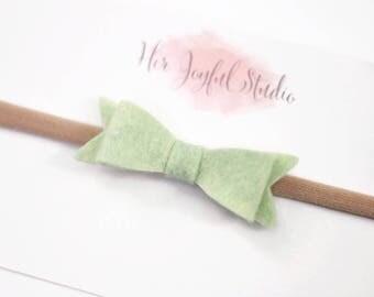 Baby Headband Bows - Baby headband - green headband - bows - baby bows - Green Baby Bow - READY to SHIP Bows - PISTACHIO