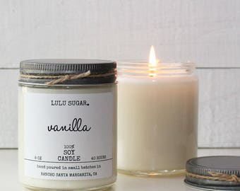 Vanilla Scented Soy Candle - 8 oz jar -  Soy Candle Gift | Vanilla Candle | Premium Candle | Handmade Candle