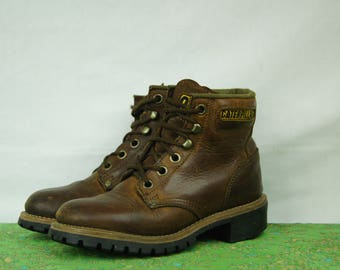 Vintage Brown Hiking Boots - Caterpillars - Size 4 US Womens, 3 UK Womens, 36 EUR Women -  Six Hole Hiking Boots - D314