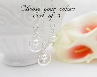 FREE US Ship Set of 3 Sterling Silver Infinity Bridesmaid Necklaces 3 Infinity And Swarovski Pearl Necklaces Set of 3 Bridesmaid Gift Set