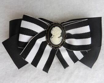 Victorian Lady Hair Clip - Gothic, Stripes, Black, White, Steampunk, Wedding, Baroque, Shabby, Victorian, Cameo, Steampunk, Black wedding