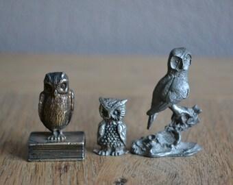 Set of 3 vintage metal owl figurines
