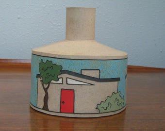 Ceramic Mid-Century Modern Sculpture Vase with Houses