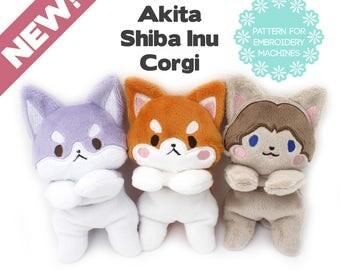 ITH in the hoop 3 dog BUNDLE plush embroidery machine design - plushie pattern Corgi Akita Shiba Inu 2 faces 2 sizes - kawaii stuffed animal