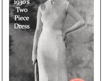 1930's Two Piece Dress  Knitting Pattern - Instant Download - PDF Instant Download - PDF Knitting Pattern