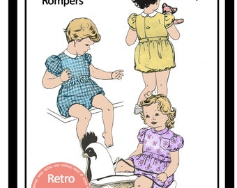 1950s Boy or Girl Toddler Romper - Paper Pattern