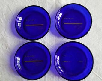 Vintage Cobalt Blue Glass SS France Ocean Liner Coasters Ashtrays Set of Four 1970s  C815