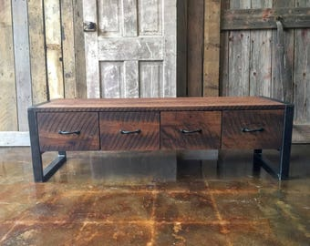 Industrial Entryway Bench Made from Reclaimed Wood