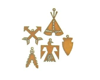 Native American Rusty Metal Pendant/Charm Assortment