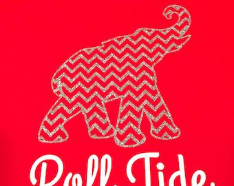 Roll Tide - Chevron -Elephant - Alabama - Tshirt or Raglan - Adult or Youth - HTV