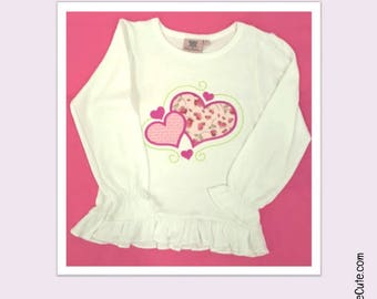 Valentines Day Girls Shirt - Embroidered Fancy Heart on Heart Applique Design on White Girly Ruffle Shirt