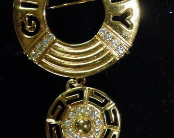 Givenchy Pin, Goldtone with rhinestones