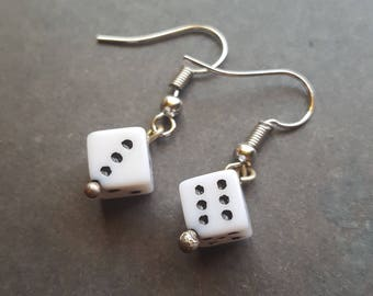 Dice Earrings, Dice Jewelry, Hypo Allergenic Earrings, Surgical Stainless Steel, Geek Gifts, Gifts for Geeks, Nerdy Jewelry, Gifts for Nerds