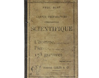 Antique French 1890s science book,  primary school natural sciences and physics book
