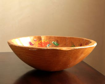 Vintage large round wood bowl with hand painted blue and orange flowers / wooden serving dish