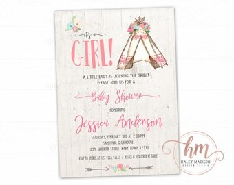 Girl Teepee Baby Shower Invitation, Floral Tribal, Adventure, Arrows, Girl baby sprinkle, Rustic Invitation, PRINTABLE FILE HM388