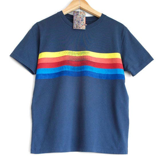 RETRO STRIPES t shirt. 100% organic cotton t-shirt. Hand printed. Blue shirt. Retro stripes. Rainbow t-shirt